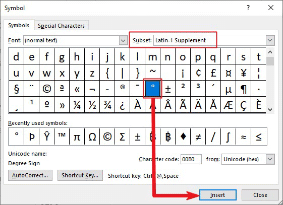 inserting degree symbol in Word or Excel or PowerPoint
