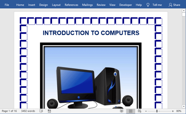 Illustration of a page border in Word