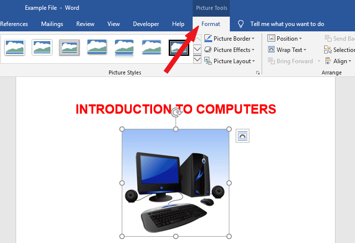 add border to picture in word