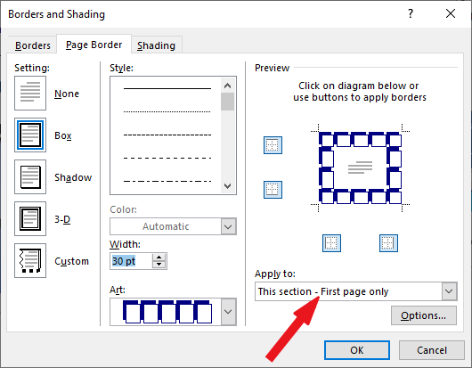 Adding page border to one page only