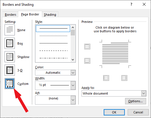 Select Custom from the Settings at the left
