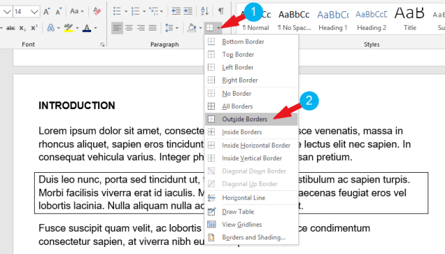 add a border to a paragraph in Word