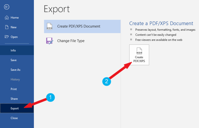 Click on Export then create PDF/XPS button