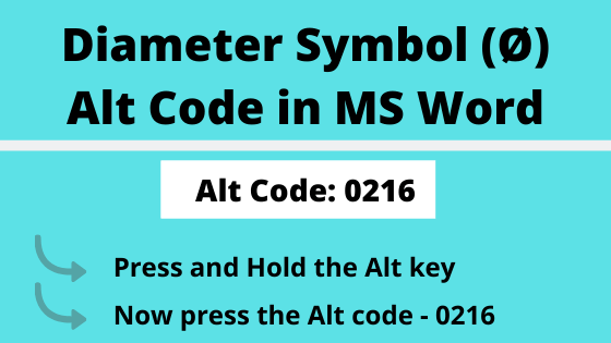 diameter symbol alt code is 0216