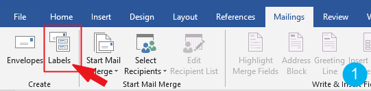 Go to Mailings>Create>Labels