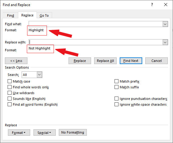 remove highlights in Word