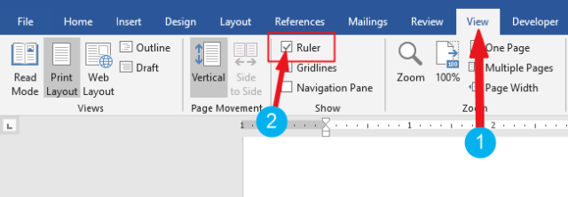 how to show ruler in word