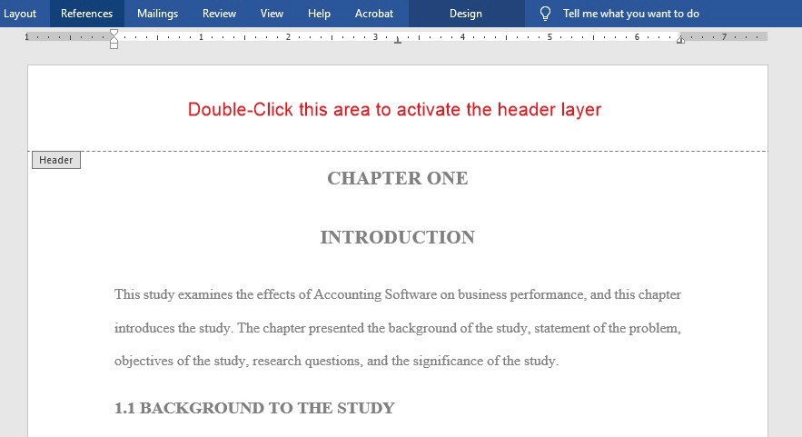 Double click the top area of any page in the document