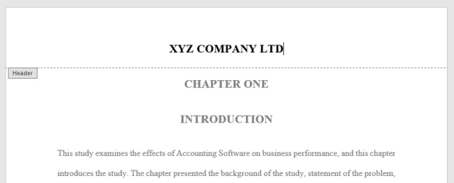 add your company name in the header of your Word document