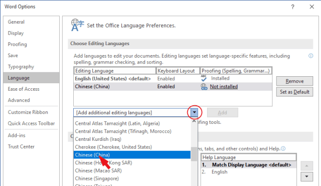 Select the language you want to change to