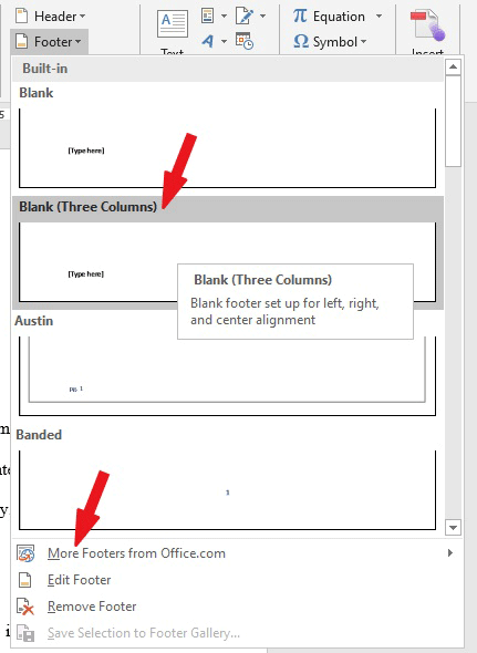Header and Footer in Word