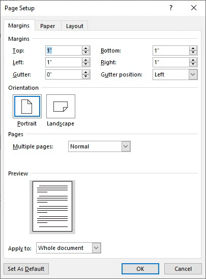 Page Setup dialog with the Margins tab displayed