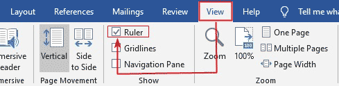 show ruler in Word