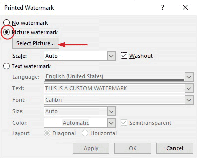 How to create picture watermark in Word