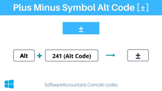 plus minus symbol alt code