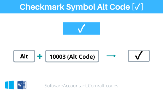 checkmark symbol alt code for Word