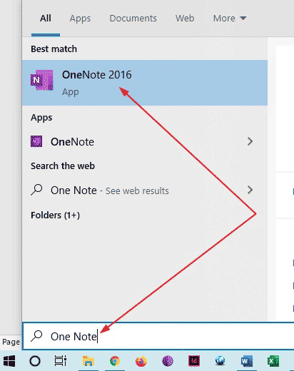 Search for OneNote