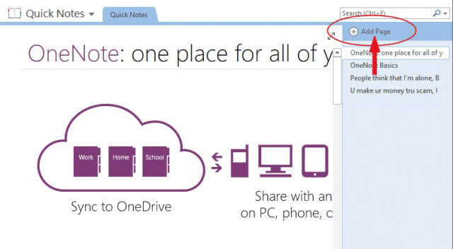 Add a new page to OneNote