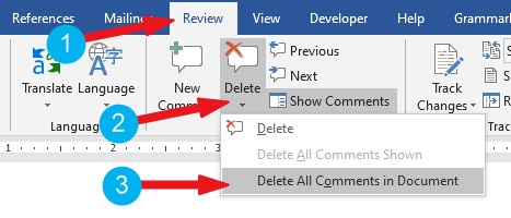 Delete all comments in Word