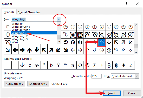 make or insert upward arrow in Word or Excel