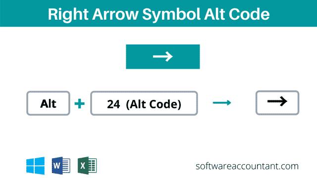 right arrow symbol alt code shortcut