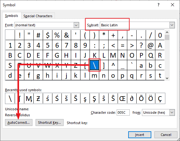 Creating a custom backward slash shortcut in Word