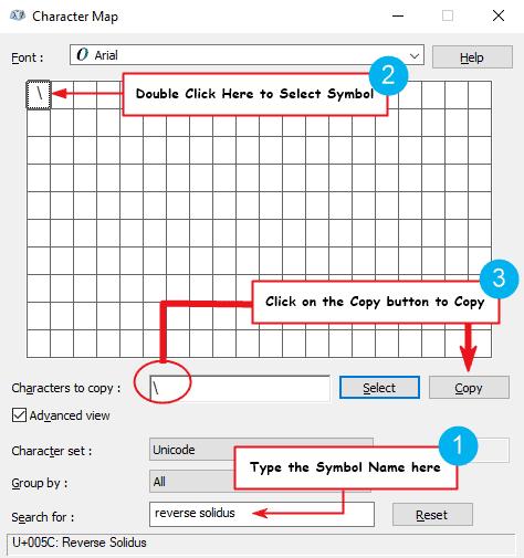Copy and paste backslash symbol