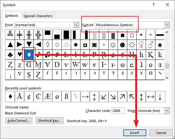 how to insert diamond symbol in Word