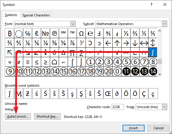 Creating a Custom integral sign shortcut in Word