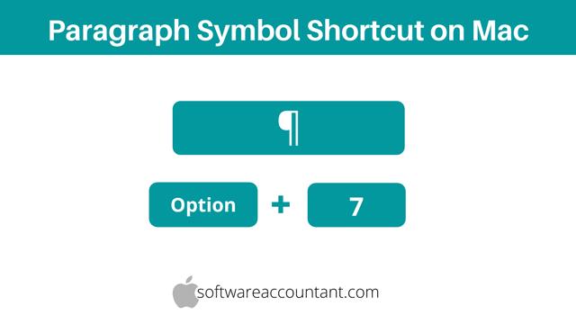 Paragraph symbol shortcut on Mac