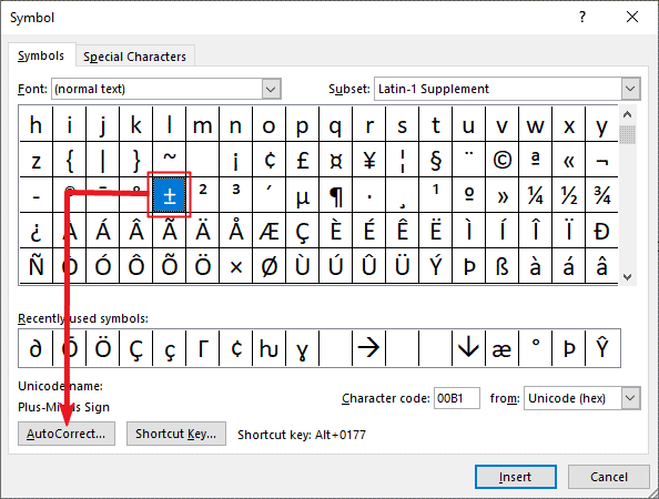 creating a custom plus or minus sign shortcut in Word