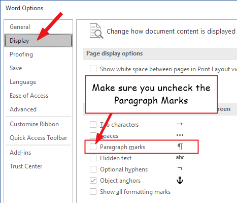 Turning off the Paragraph symbol in the advanced settings