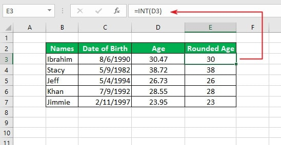 using the INT function to round decimals to the nearest integer