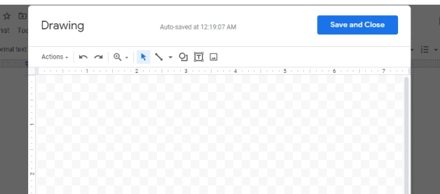 Display of the drawing window in Google docs