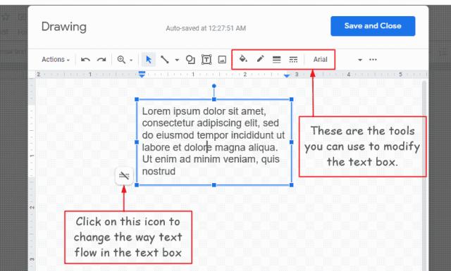 editing Google Docs Text box