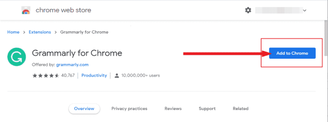Adding Grammarly extension in Google Chrome Browser