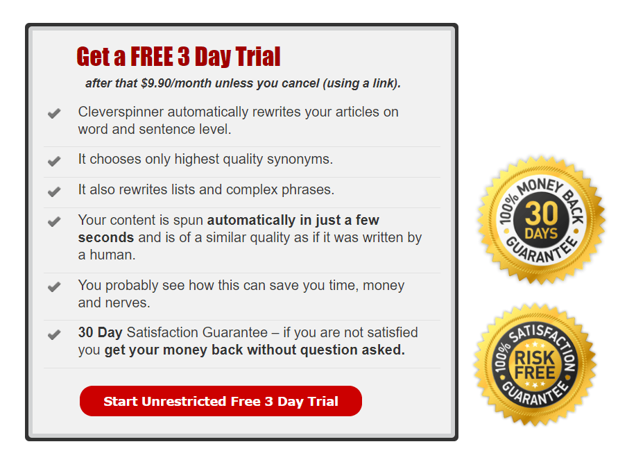 Clever Spinner Pricing and Free trial badge