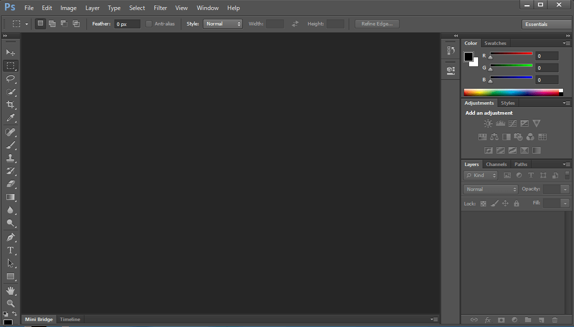 Adobe Photoshop CS6 Portable main screen