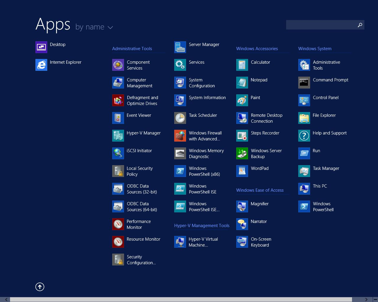 Windows Server 2012 start menu