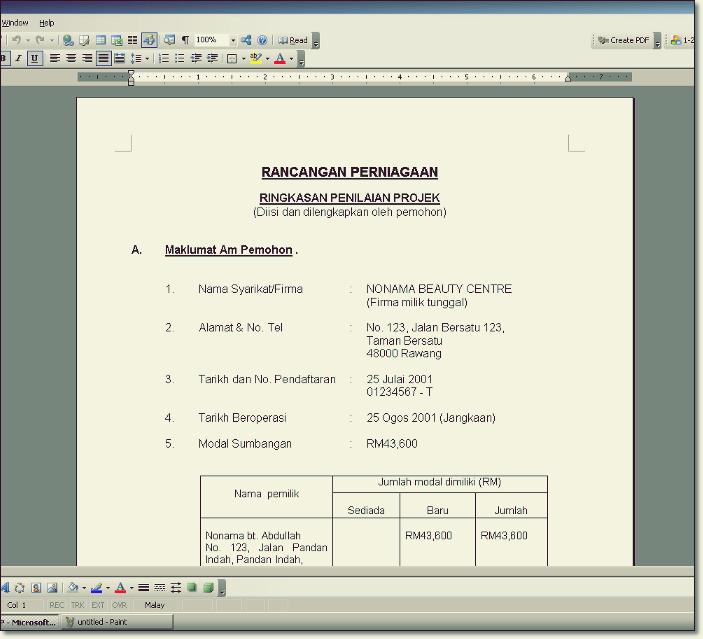 format contoh rancangan perniagaan