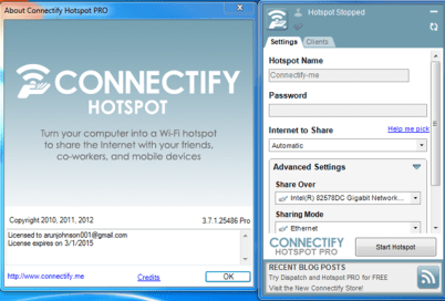 Available Features Of Connectify Hotpot Pro Full Version