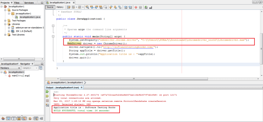 Selenium WebDriver Script in NetBeans using Chrome
