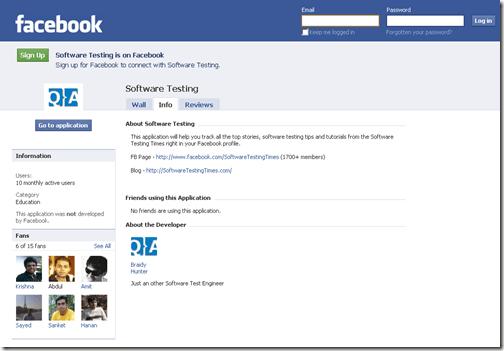 launching testing application on facebook software testing times rh softwaretestingtimes com Facebook' Box Facebook Developer Toolkit