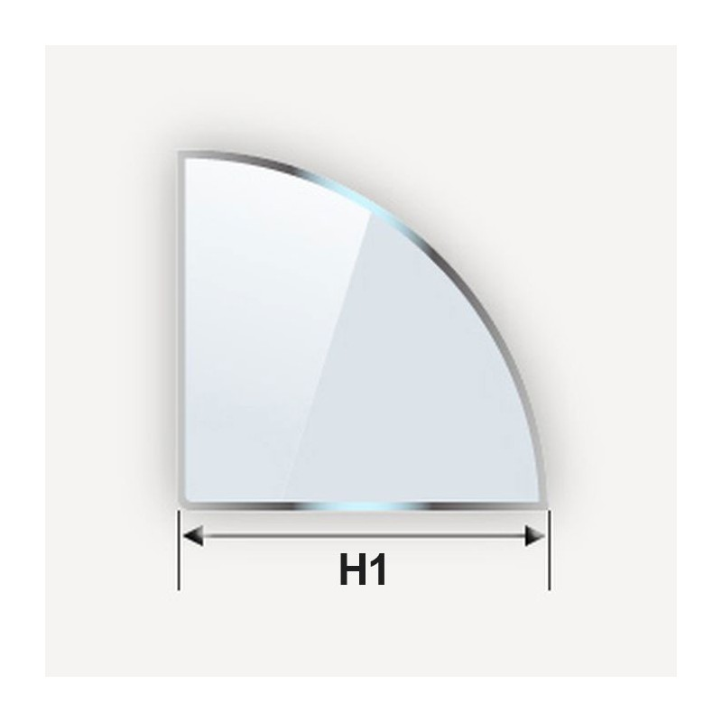 etagere en verre trempe quart de cercle