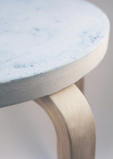 Jesmonite stool prototype using glacier forming and dying technique.