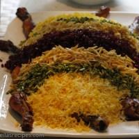 Stekt kylling med berberis, mandler, pistasj, og ris