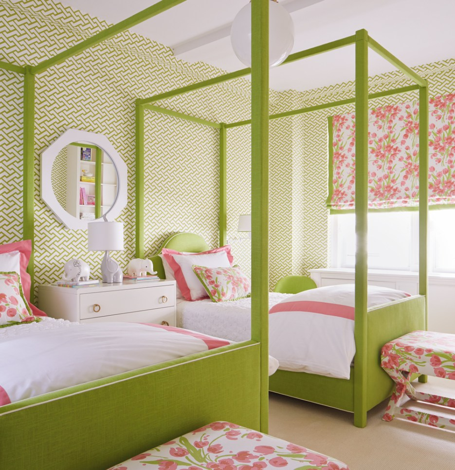 Lime & white Quadrille wallpaper in bedroom accented with pink.