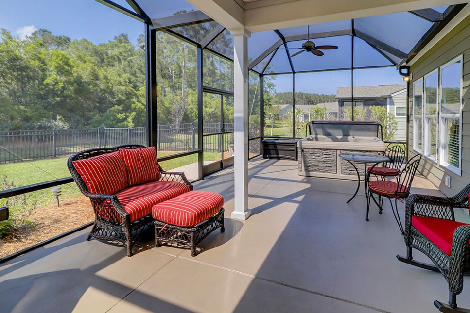 A screened-in lanai for bug-free enjoyment