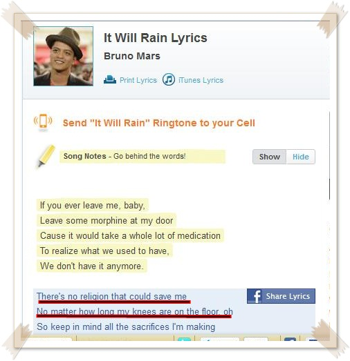 it will rain bruno mars lyric