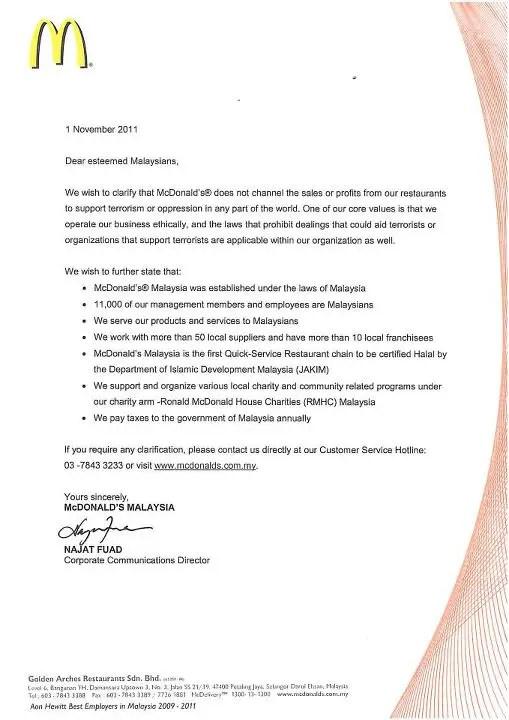 kenyataan rasmi mcdonalds malaysia